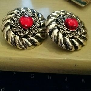 Large round clip earrings with red